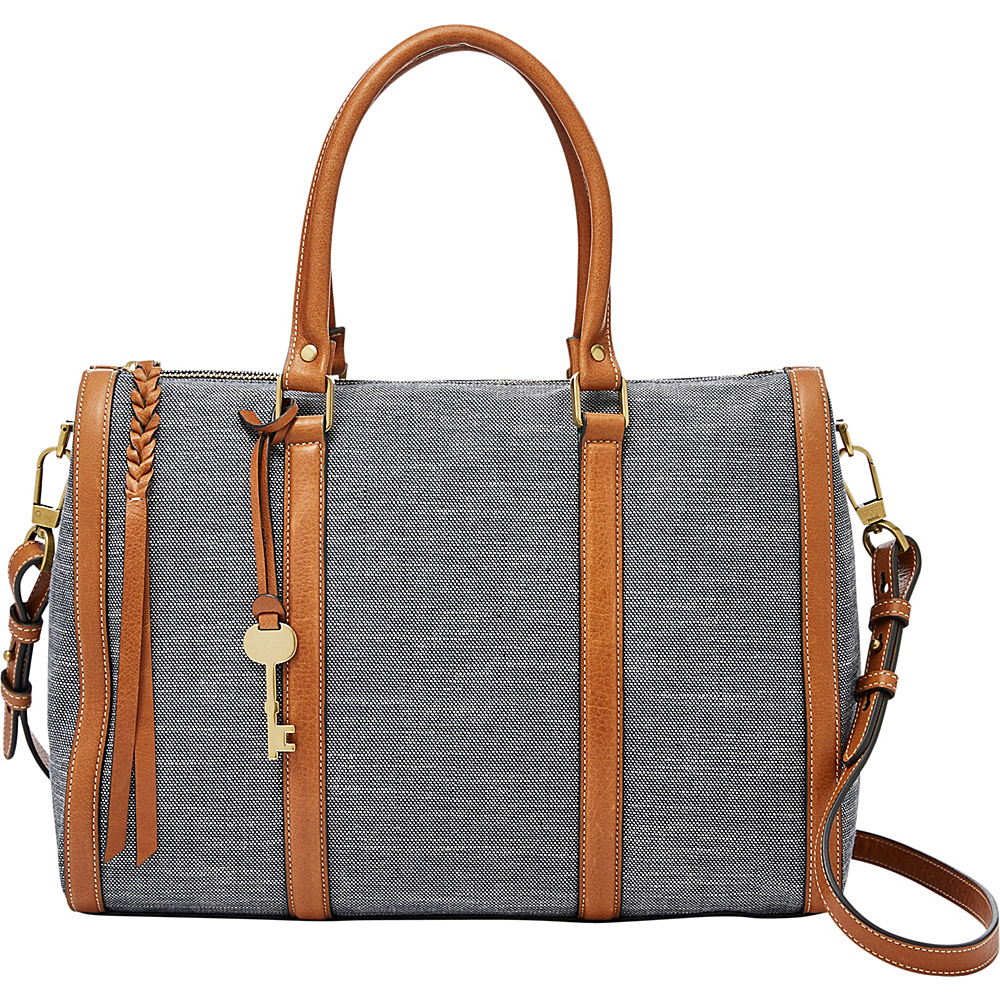 Fossil Kendall Large Satchel Chambray - Fossil Fabric Handbags - Handbags, Fabric Handbags