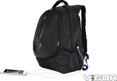 TRAKK Vigor Water-Resistant Power Charging Travel Backpack Black - TRAKK Travel Backpacks