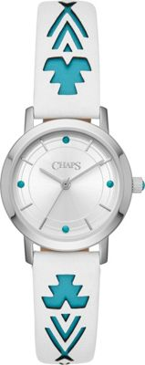 Chaps Petite Whitney Stainless-Steel and White Leather Three-Hand Watch White - Chaps Watches