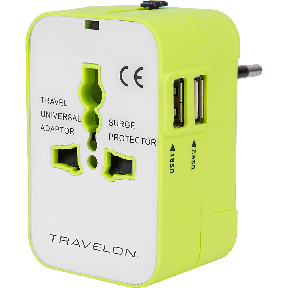 Travelon Worldwide Travel Adapter with Dual USB Chargers Green - Travelon Electronic Accessories - Technology, Electronic Accessories
