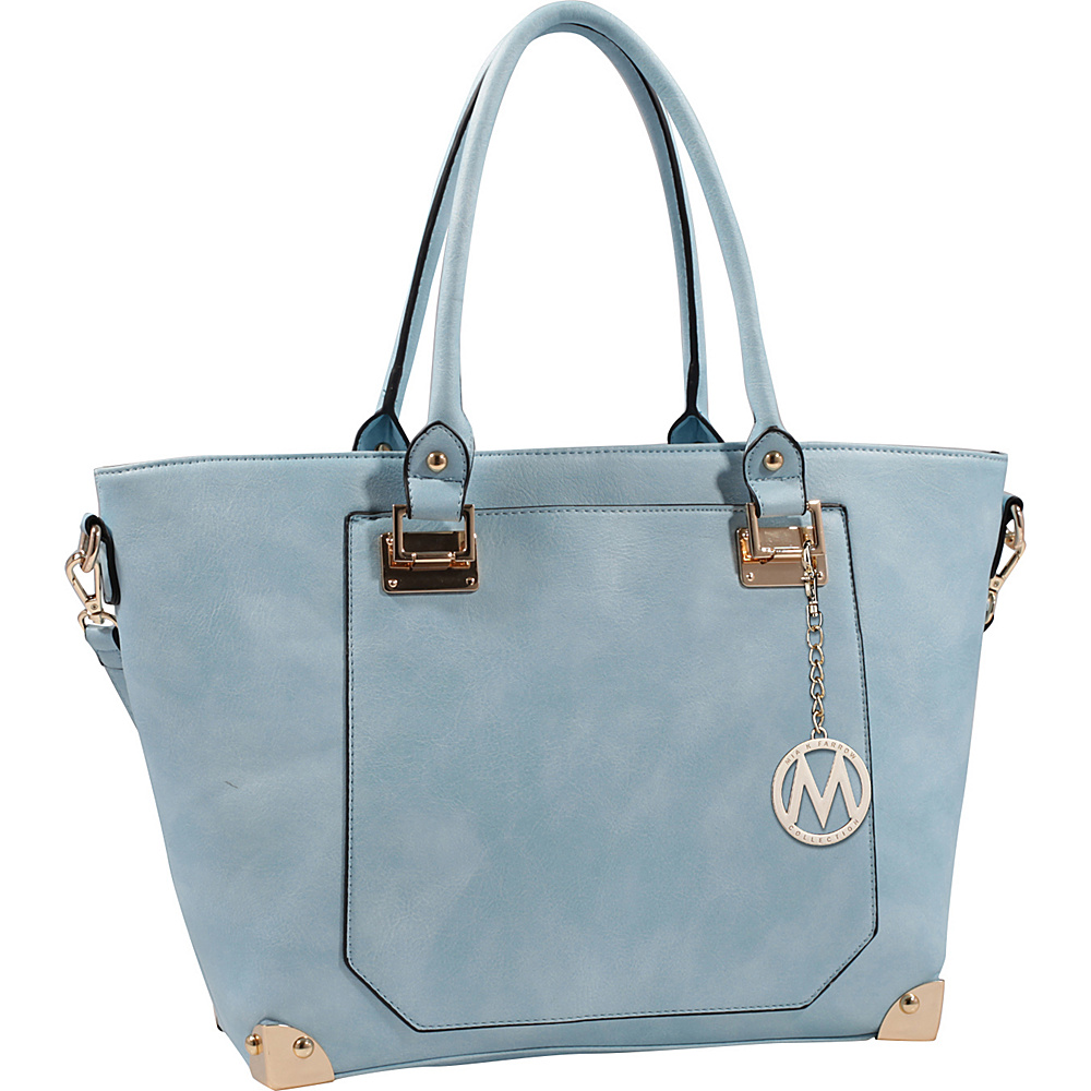 MKF Collection by Mia K. Farrow Yorkshire Tote with Shoulder Strap Light Blue - MKF Collection by Mia K. Farrow Manmade Handbags - Handbags, Manmade Handbags
