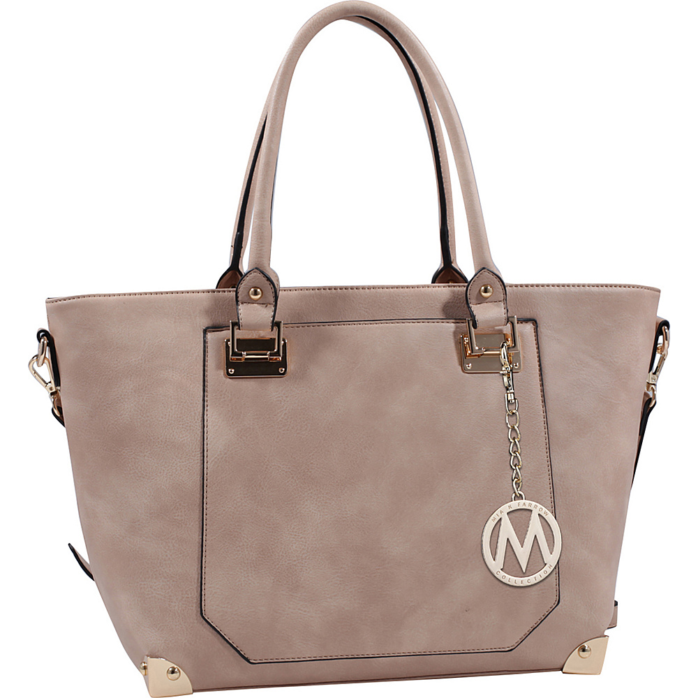 MKF Collection by Mia K. Farrow Yorkshire Tote with Shoulder Strap Taupe - MKF Collection by Mia K. Farrow Manmade Handbags - Handbags, Manmade Handbags