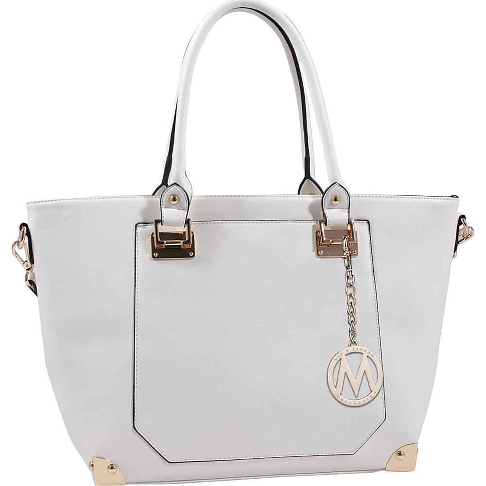MKF Collection by Mia K. Farrow Yorkshire Tote with Shoulder Strap White - MKF Collection by Mia K. Farrow Manmade Handbags - Handbags, Manmade Handbags