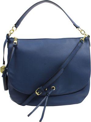 London Fog Handbags Hayle Flap Hobo Cadet - London Fog Handbags Manmade Handbags
