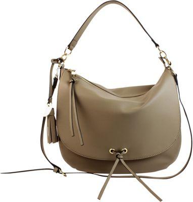 London Fog Handbags Hayle Flap Hobo Taupe - London Fog Handbags Manmade Handbags