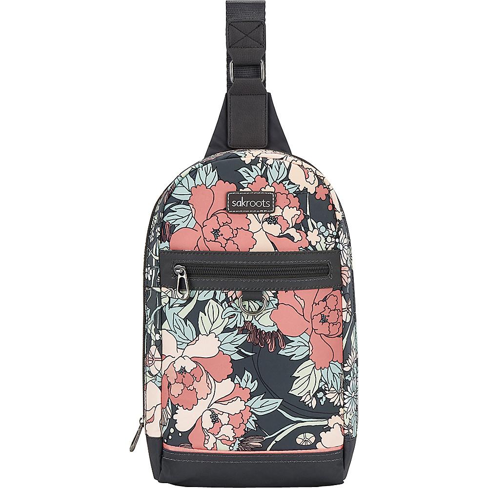 Sakroots New Adventure Hiker Sling Backpack Charcoal Flower Power - Sakroots Backpacking Packs - Outdoor, Backpacking Packs