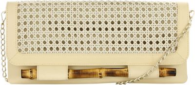 Elaine Turner Simona Clutch Ecru Leather - Elaine Turner Manmade Handbags