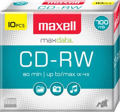 Maxell CD-RW 700MB 1-4x, Rewritable, Recordable Compact Disc in Slim Jewel Case