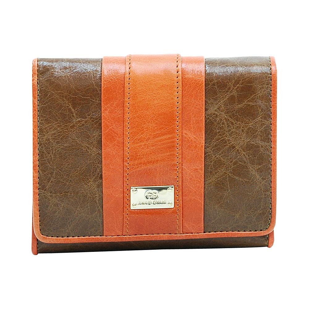 Dasein Womens Petite Color Block Tri-Fold Wallet Brown/Orange - Dasein Womens Wallets - Women's SLG, Women's Wallets