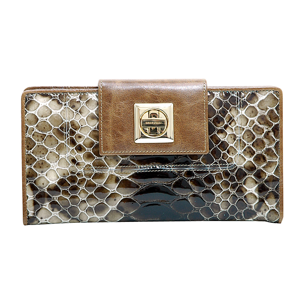 Dasein Womens Snakeskin Tri-Fold Checkbook Wallet with Twist Lock Closure Deep Brown - Dasein Womens Wallets - Women's SLG, Women's Wallets