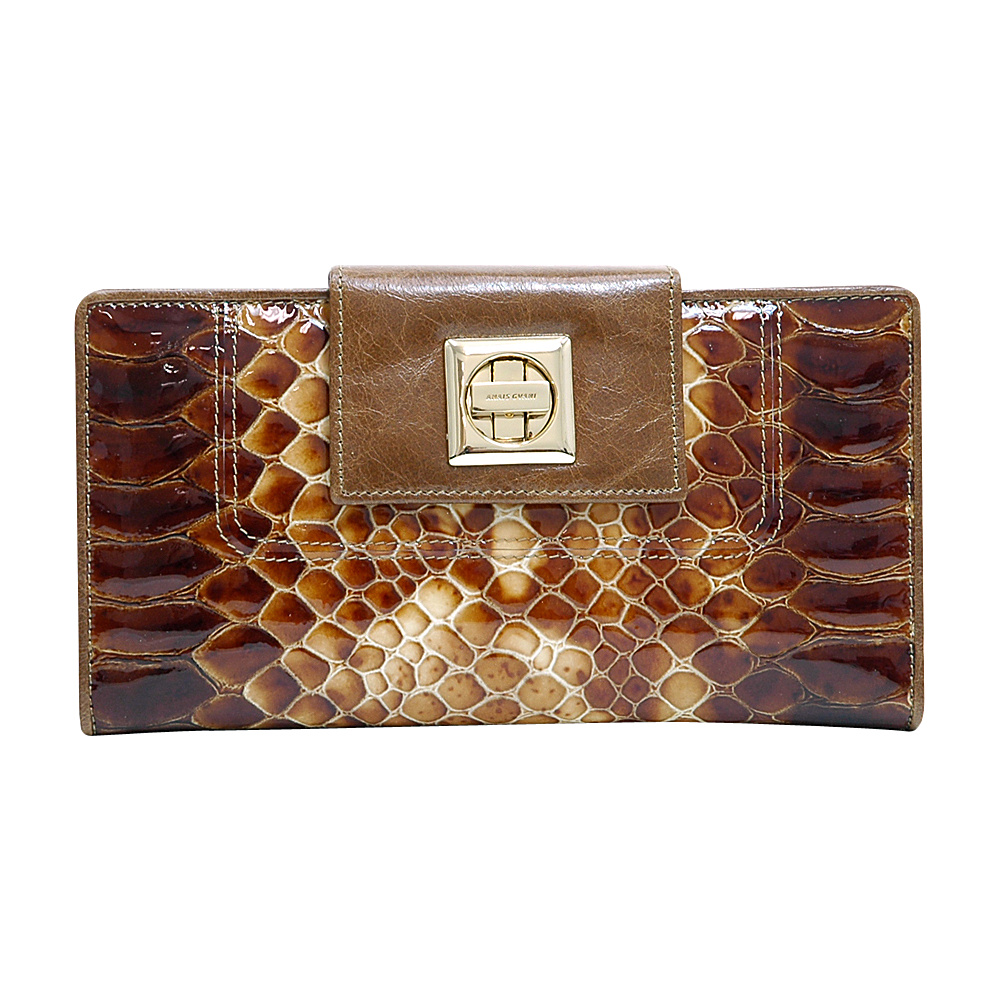 Dasein Womens Snakeskin Tri-Fold Checkbook Wallet with Twist Lock Closure Brown - Dasein Womens Wallets - Women's SLG, Women's Wallets