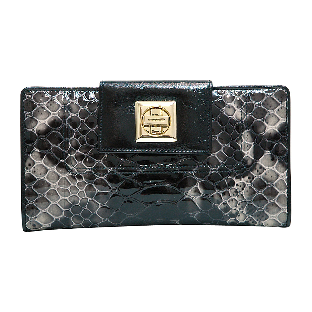 Dasein Womens Snakeskin Tri-Fold Checkbook Wallet with Twist Lock Closure Black - Dasein Womens Wallets - Women's SLG, Women's Wallets