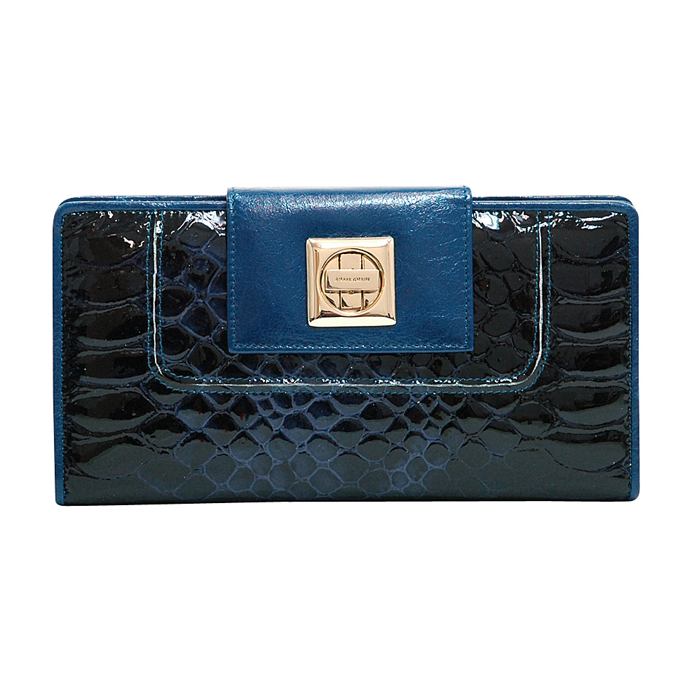 Dasein Womens Snakeskin Tri-Fold Checkbook Wallet with Twist Lock Closure Blue - Dasein Womens Wallets - Women's SLG, Women's Wallets