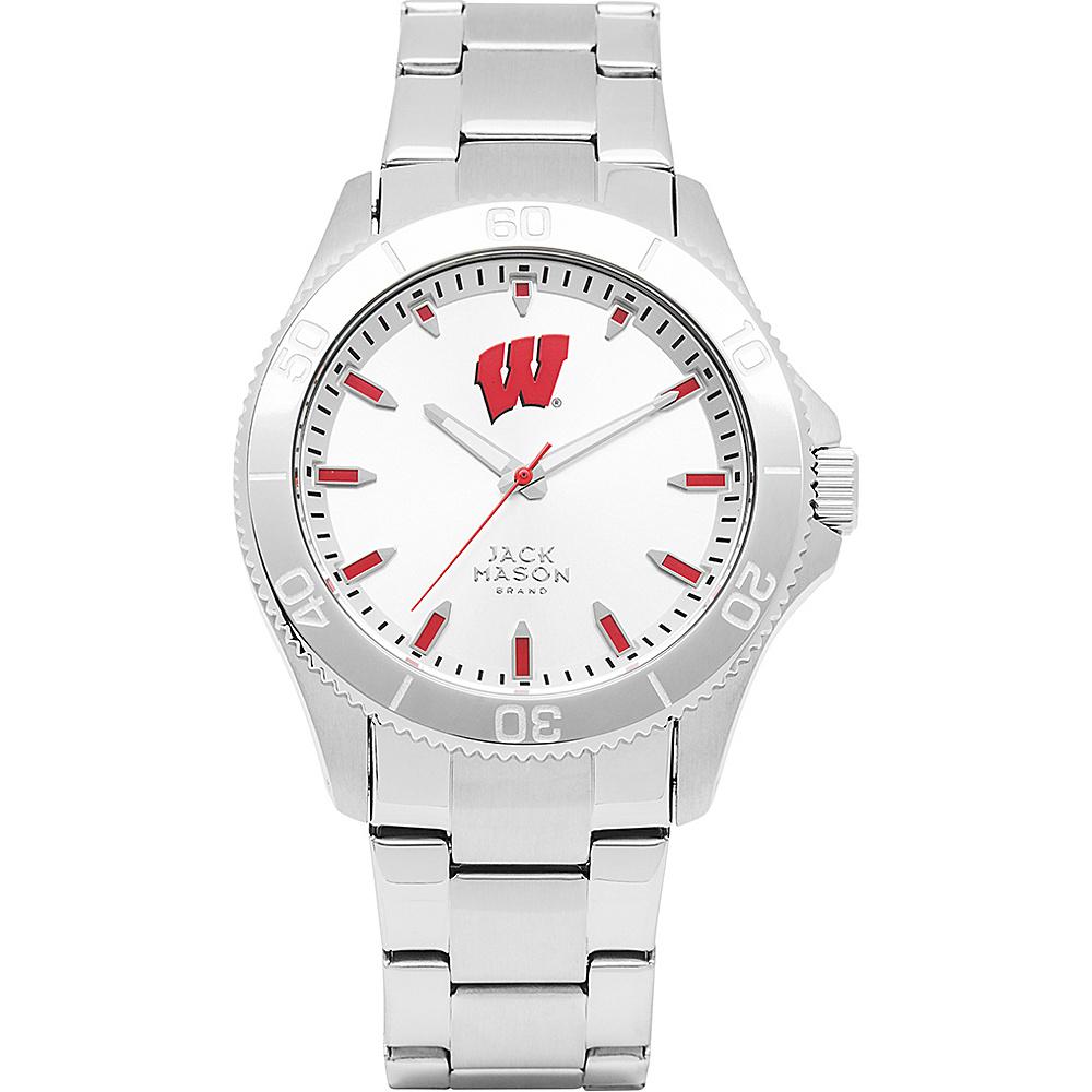 Jack Mason League NCAA Silver Dial Bracelet Watch Wisconsin Badgers - Jack Mason League Watches - Fashion Accessories, Watches