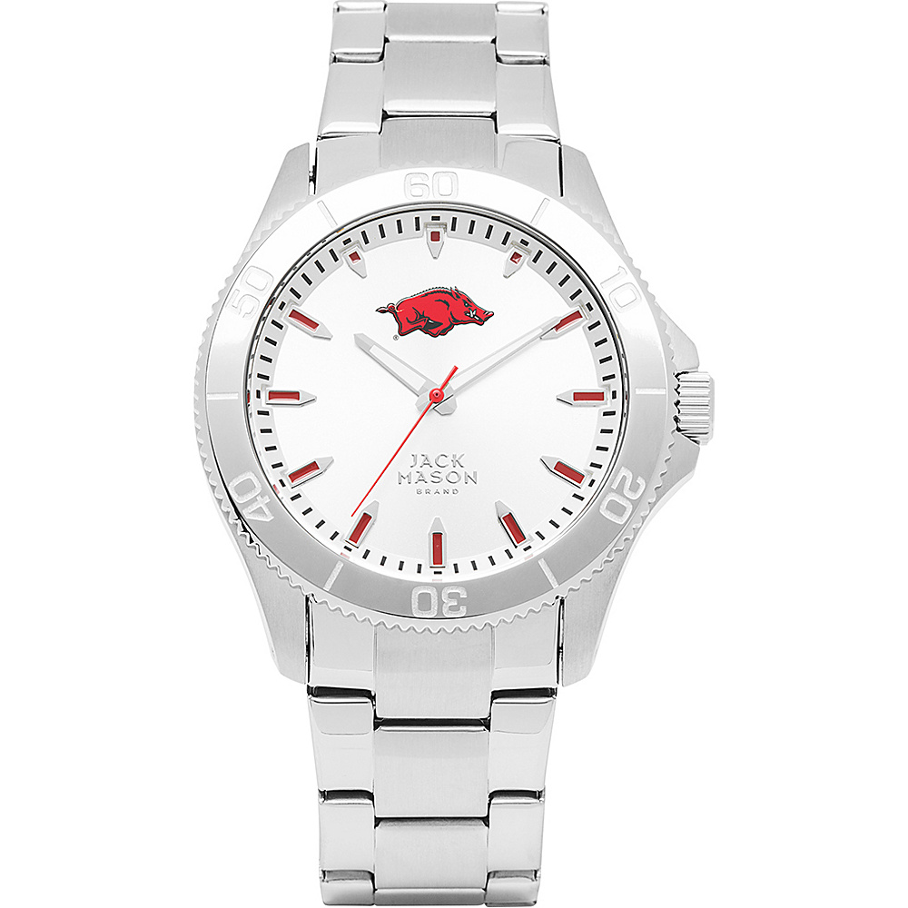 Jack Mason League NCAA Silver Dial Bracelet Watch Arkansas Razorbacks - Jack Mason League Watches - Fashion Accessories, Watches