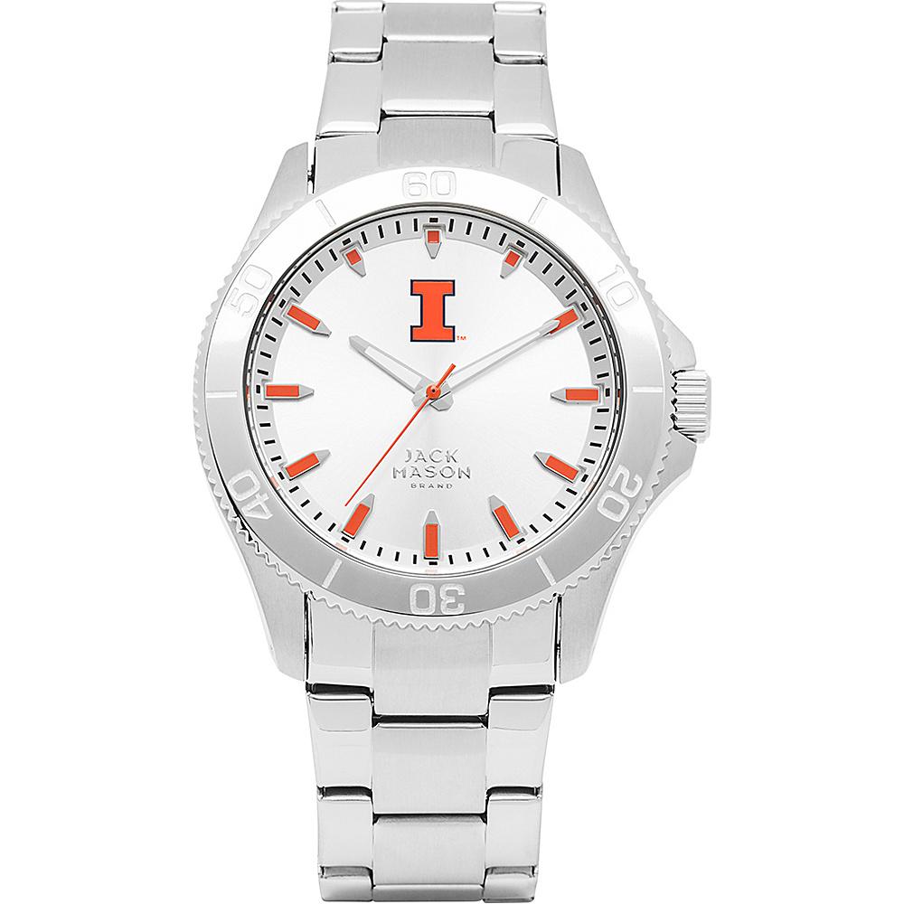 Jack Mason League NCAA Silver Dial Bracelet Watch Illinois Fighting Illini - Jack Mason League Watches - Fashion Accessories, Watches