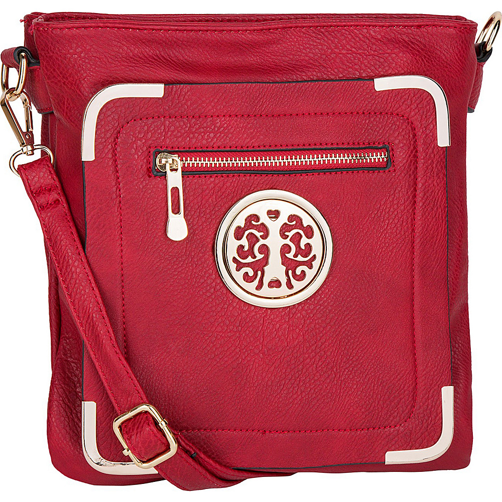 MKF Collection by Mia K. Farrow Courier Fun to Wear Crossbody Red - MKF Collection by Mia K. Farrow Manmade Handbags - Handbags, Manmade Handbags