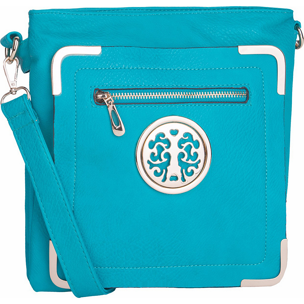 MKF Collection by Mia K. Farrow Courier Fun to Wear Crossbody Turquoise - MKF Collection by Mia K. Farrow Manmade Handbags - Handbags, Manmade Handbags
