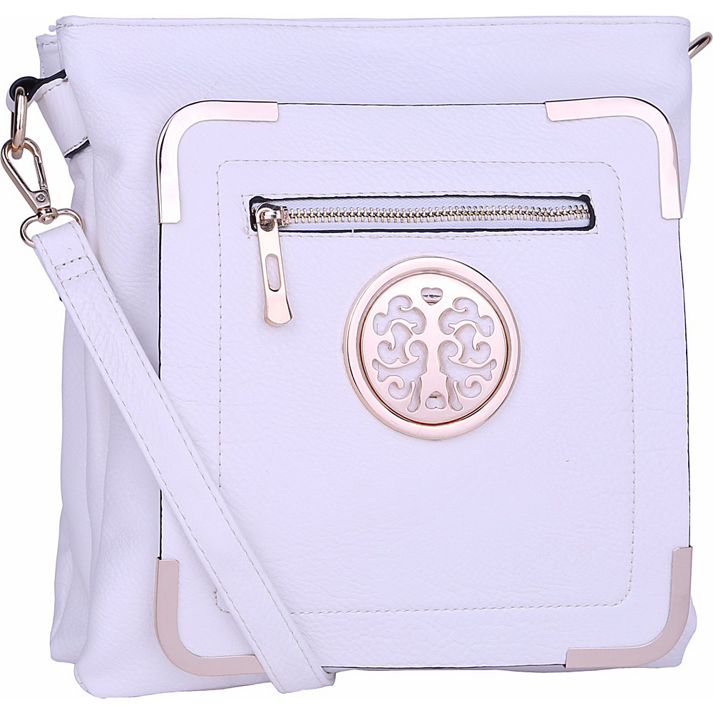 MKF Collection by Mia K. Farrow Courier Fun to Wear Crossbody White - MKF Collection by Mia K. Farrow Manmade Handbags - Handbags, Manmade Handbags