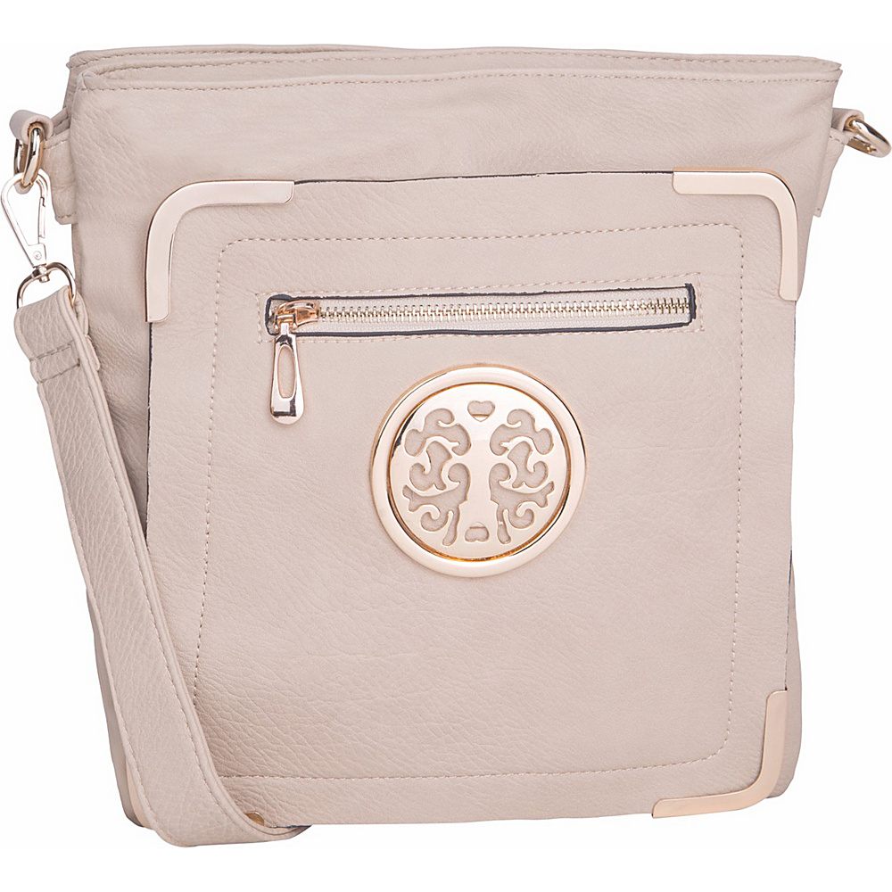 MKF Collection by Mia K. Farrow Courier Fun to Wear Crossbody Beige - MKF Collection by Mia K. Farrow Manmade Handbags - Handbags, Manmade Handbags
