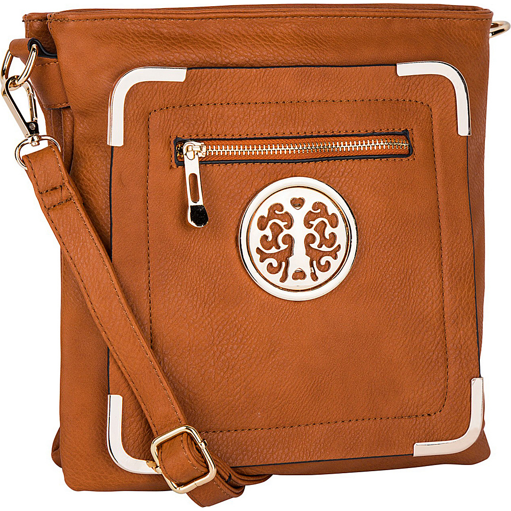 MKF Collection by Mia K. Farrow Courier Fun to Wear Crossbody Brown - MKF Collection by Mia K. Farrow Manmade Handbags - Handbags, Manmade Handbags
