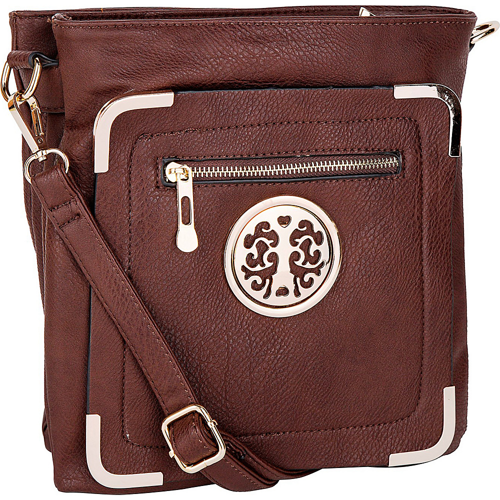 MKF Collection by Mia K. Farrow Courier Fun to Wear Crossbody Coffee - MKF Collection by Mia K. Farrow Manmade Handbags - Handbags, Manmade Handbags
