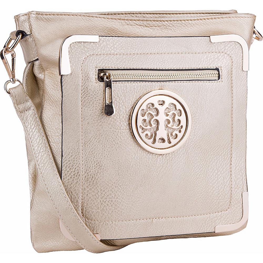 MKF Collection by Mia K. Farrow Courier Fun to Wear Crossbody Gold - MKF Collection by Mia K. Farrow Manmade Handbags - Handbags, Manmade Handbags
