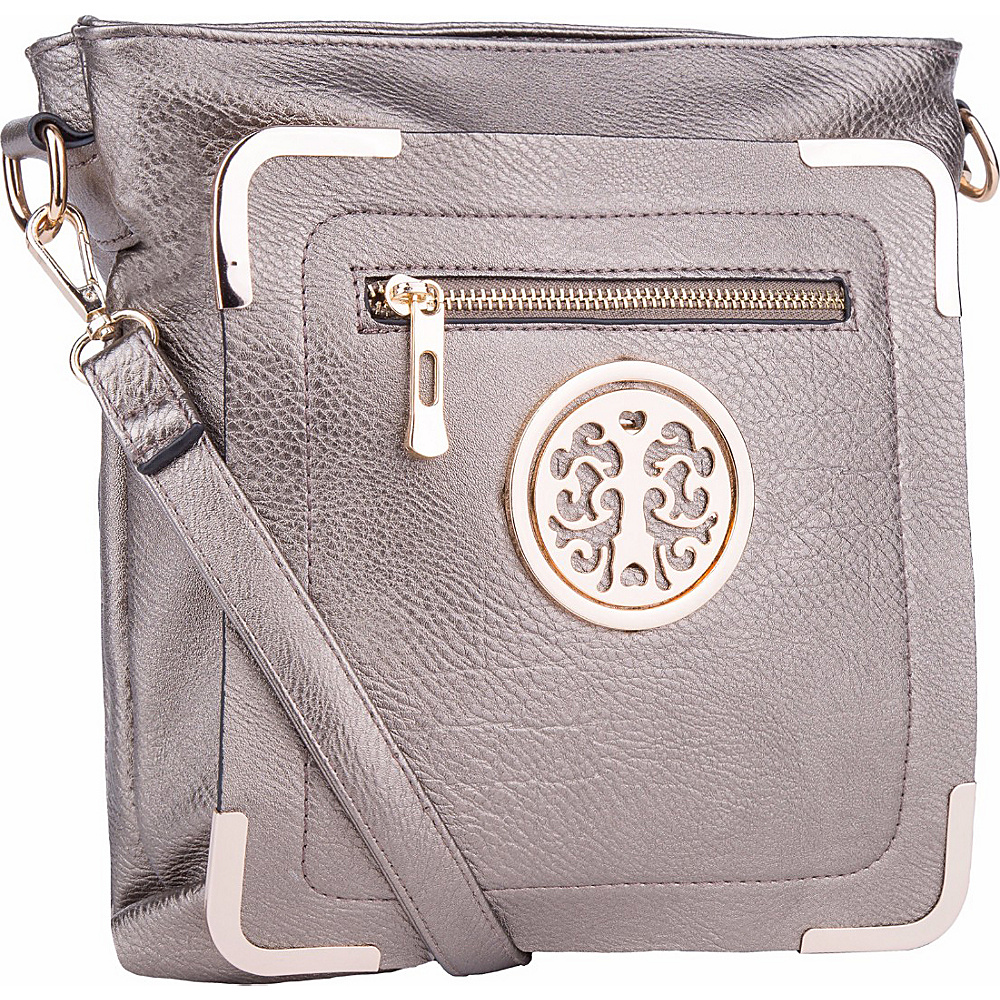 MKF Collection by Mia K. Farrow Courier Fun to Wear Crossbody Pewter - MKF Collection by Mia K. Farrow Manmade Handbags - Handbags, Manmade Handbags