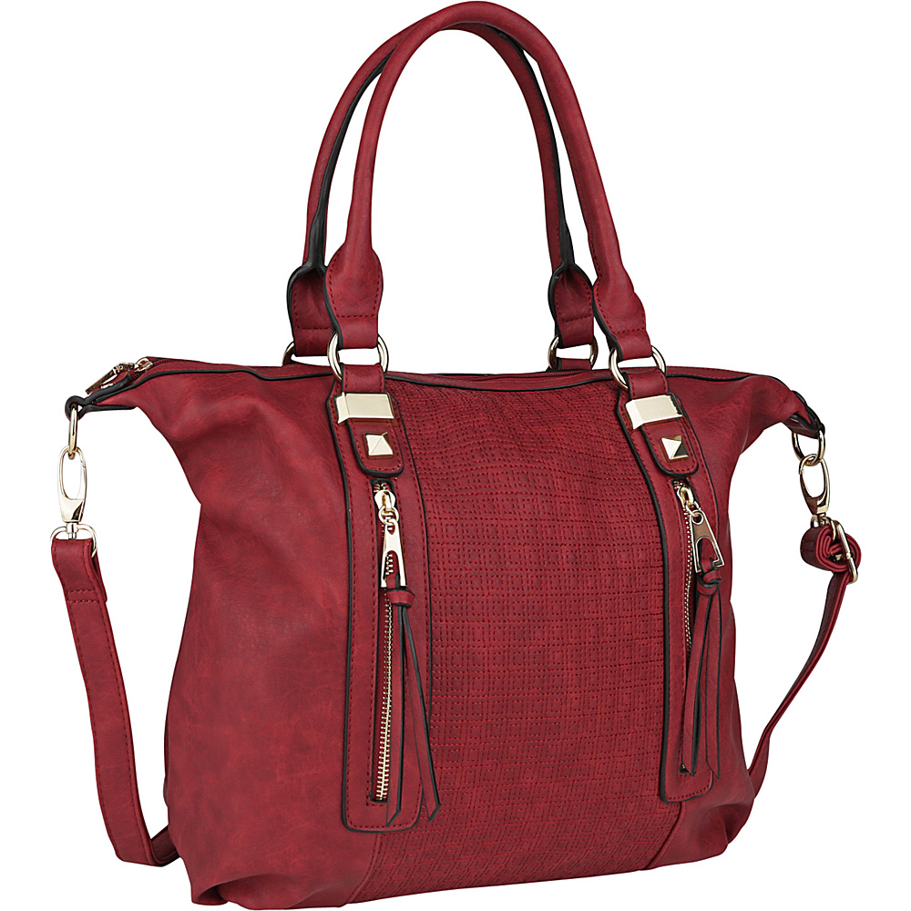 MKF Collection by Mia K. Farrow Colmar Top Stitched Weekender Tote Burgundy - MKF Collection by Mia K. Farrow Manmade Handbags - Handbags, Manmade Handbags