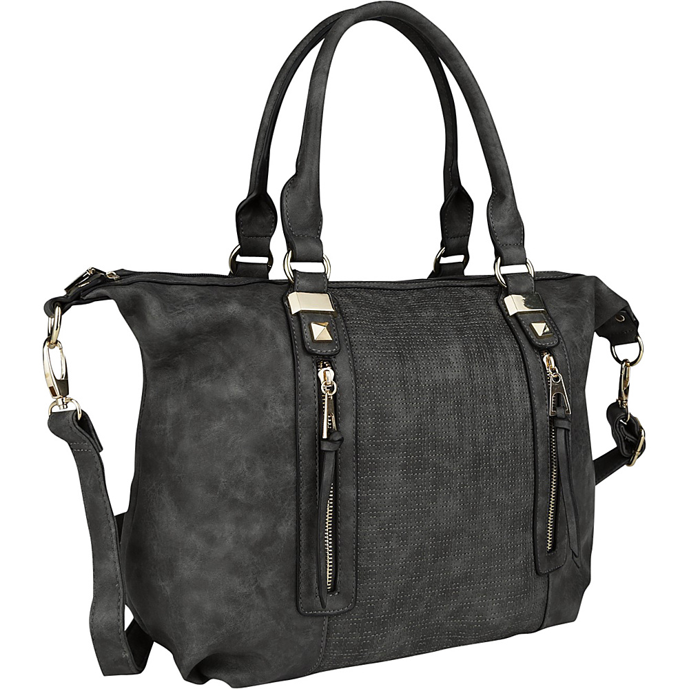 MKF Collection by Mia K. Farrow Colmar Top Stitched Weekender Tote Dark Grey - MKF Collection by Mia K. Farrow Manmade Handbags - Handbags, Manmade Handbags
