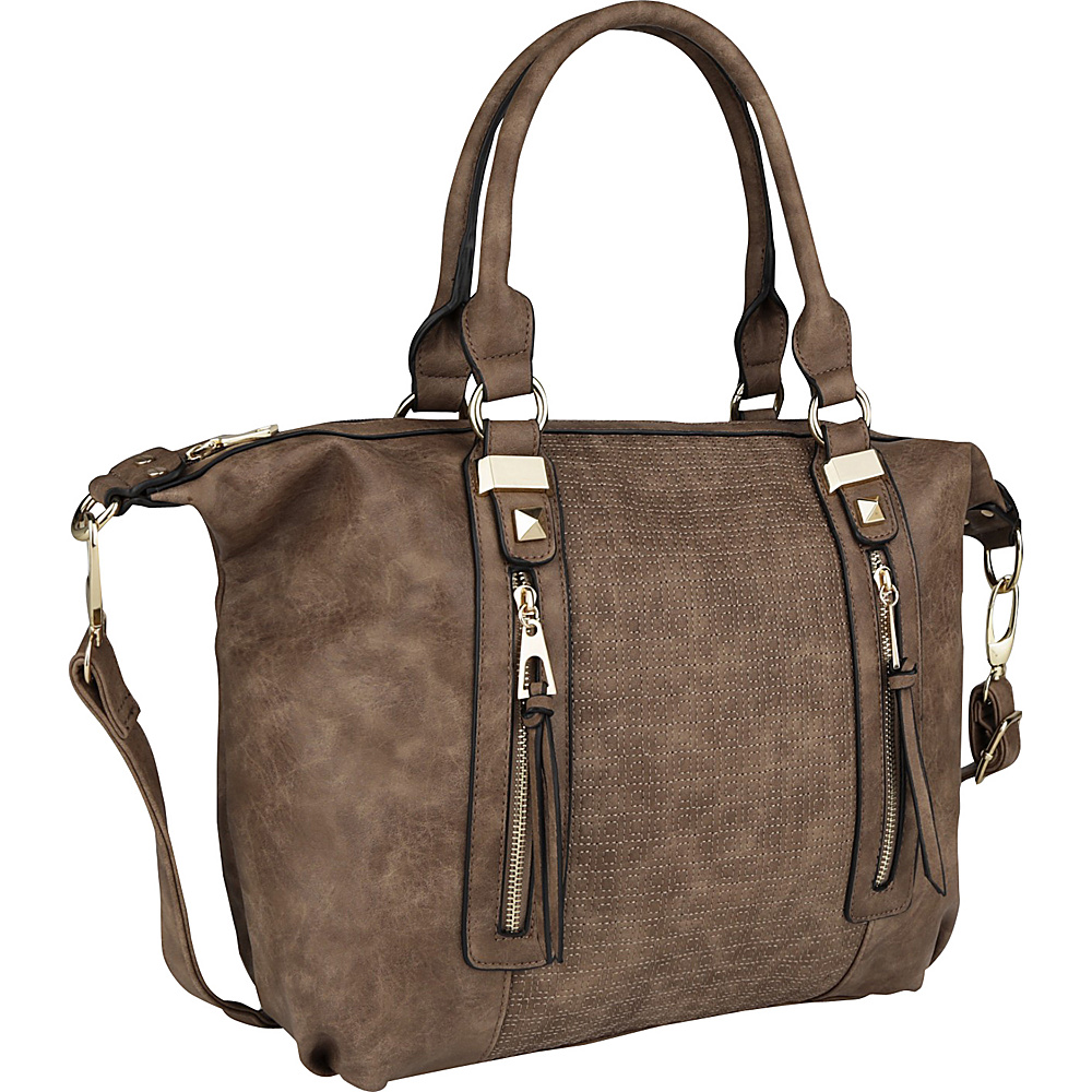 MKF Collection by Mia K. Farrow Colmar Top Stitched Weekender Tote Khaki - MKF Collection by Mia K. Farrow Manmade Handbags - Handbags, Manmade Handbags