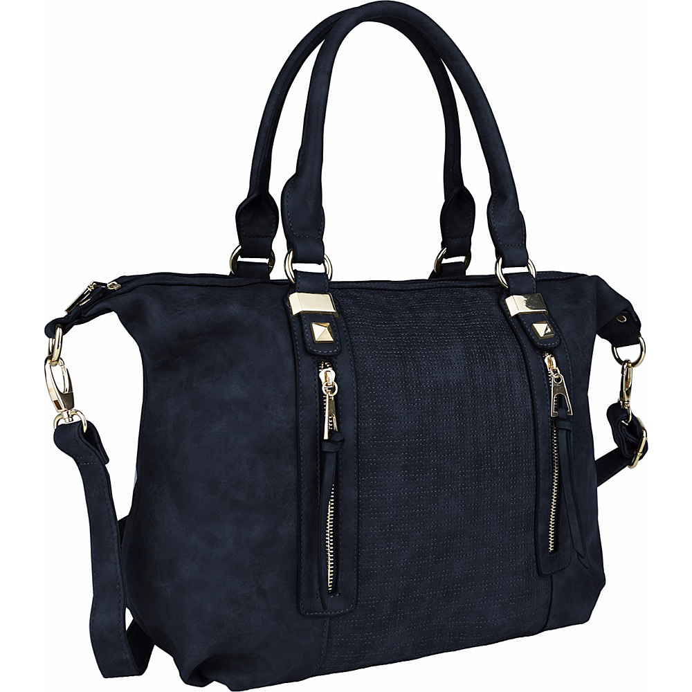 MKF Collection by Mia K. Farrow Colmar Top Stitched Weekender Tote Navy - MKF Collection by Mia K. Farrow Manmade Handbags - Handbags, Manmade Handbags