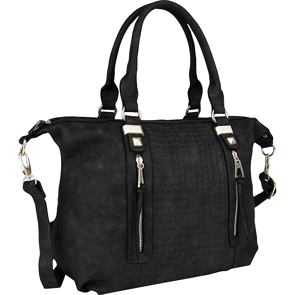 MKF Collection by Mia K. Farrow Colmar Top Stitched Weekender Tote Black - MKF Collection by Mia K. Farrow Manmade Handbags - Handbags, Manmade Handbags