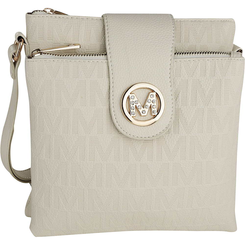 MKF Collection by Mia K. Farrow Marietta M Signature Crossbody Beige - MKF Collection by Mia K. Farrow Manmade Handbags - Handbags, Manmade Handbags