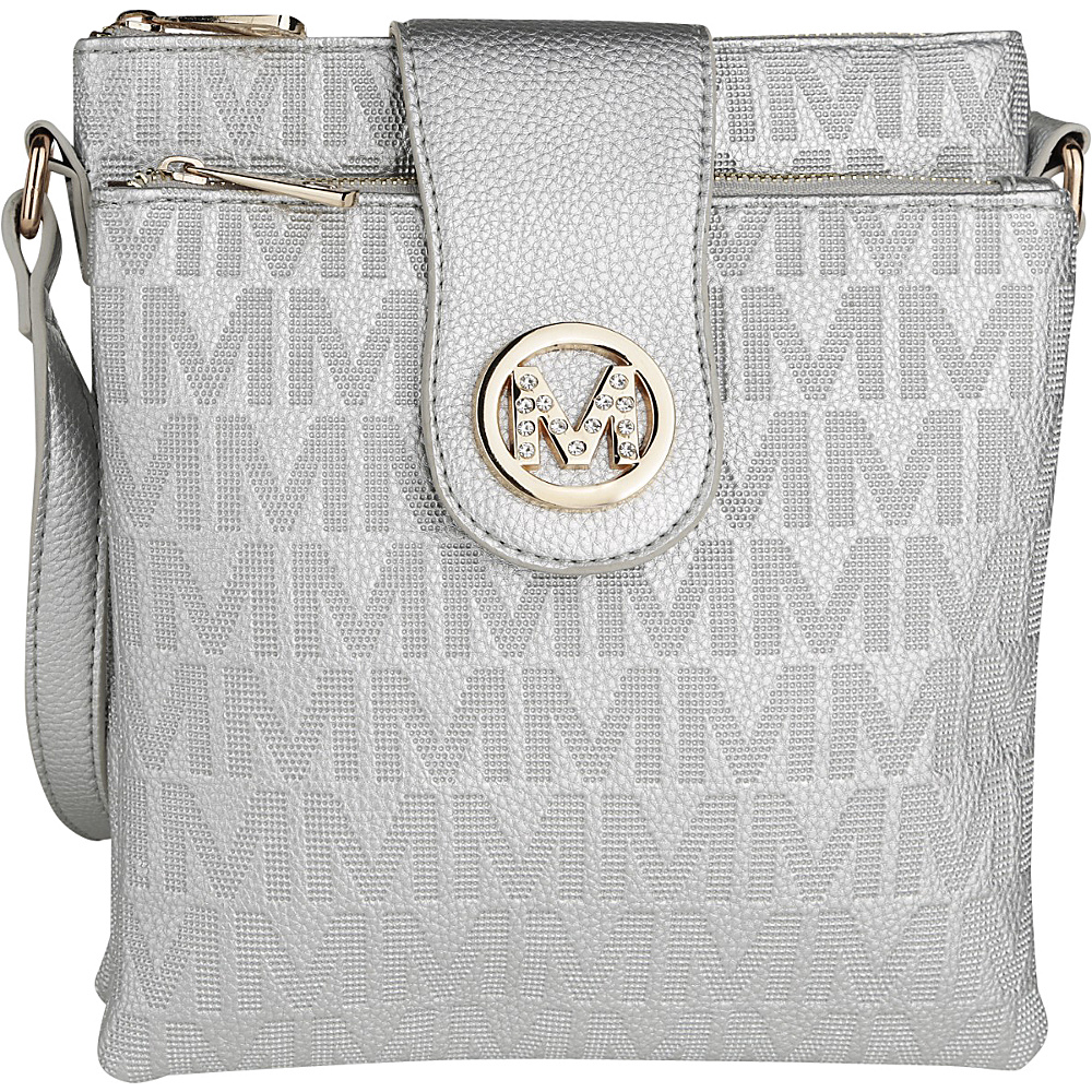 MKF Collection by Mia K. Farrow Marietta M Signature Crossbody Silver - MKF Collection by Mia K. Farrow Manmade Handbags - Handbags, Manmade Handbags