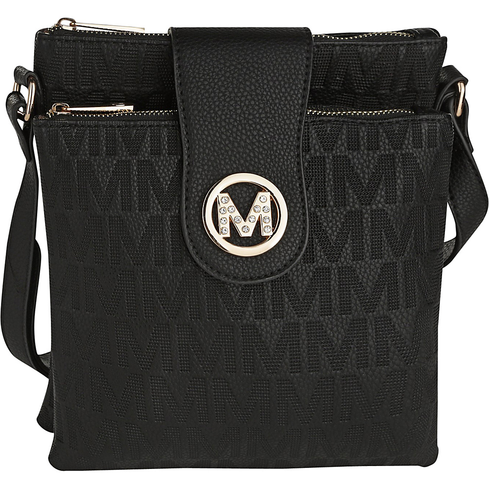 MKF Collection by Mia K. Farrow Marietta M Signature Crossbody Black - MKF Collection by Mia K. Farrow Manmade Handbags - Handbags, Manmade Handbags