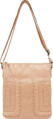 Bueno Washed Whip Stitch Panels Crossbody Pale Pink - Bueno Leather Handbags