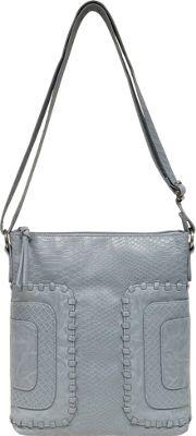 Bueno Washed Whip Stitch Panels Crossbody Blue Multi - Bueno Leather Handbags