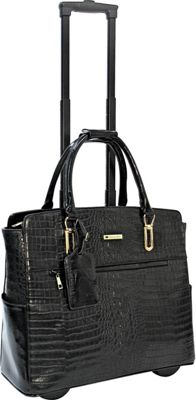 Cabrelli Cabrelli Carrie Croco Rolling Briefcase Black - Cabrelli Wheeled Business Cases