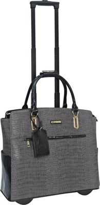 Cabrelli Carrie Croco Rolling Briefcase Grey - Cabrelli Wheeled Business Cases