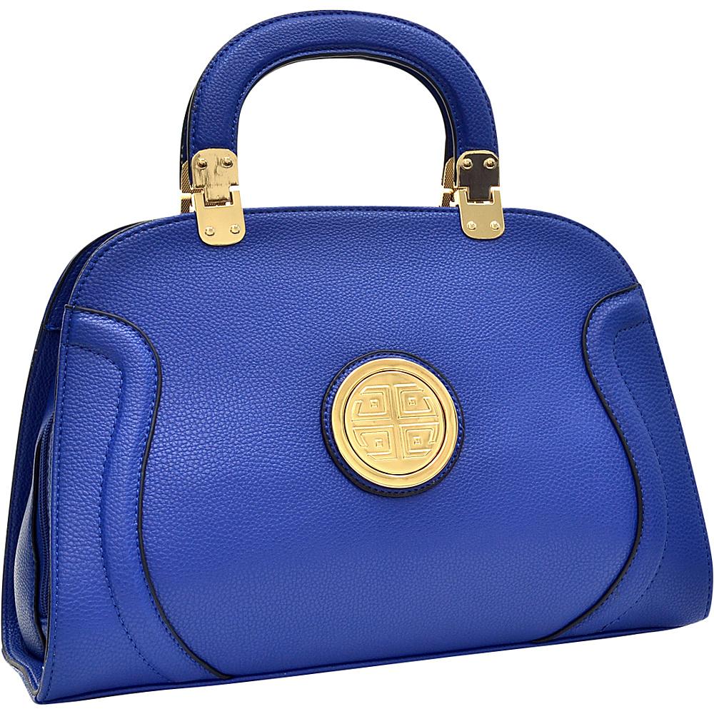 Dasein Fashion Stitched Zip Around Gold Emblem Fashion Satchel Royal Blue - Dasein Manmade Handbags - Handbags, Manmade Handbags