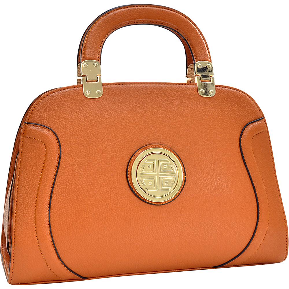 Dasein Fashion Stitched Zip Around Gold Emblem Fashion Satchel Orange - Dasein Manmade Handbags - Handbags, Manmade Handbags