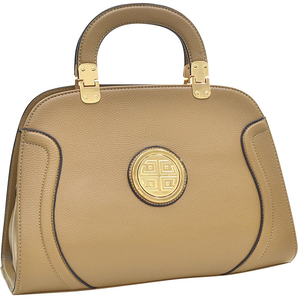 Dasein Fashion Stitched Zip Around Gold Emblem Fashion Satchel Sand - Dasein Manmade Handbags - Handbags, Manmade Handbags