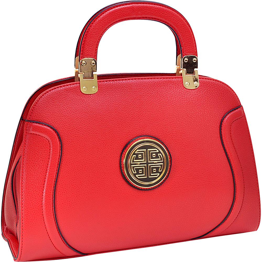 Dasein Fashion Stitched Zip Around Gold Emblem Fashion Satchel Red - Dasein Manmade Handbags - Handbags, Manmade Handbags