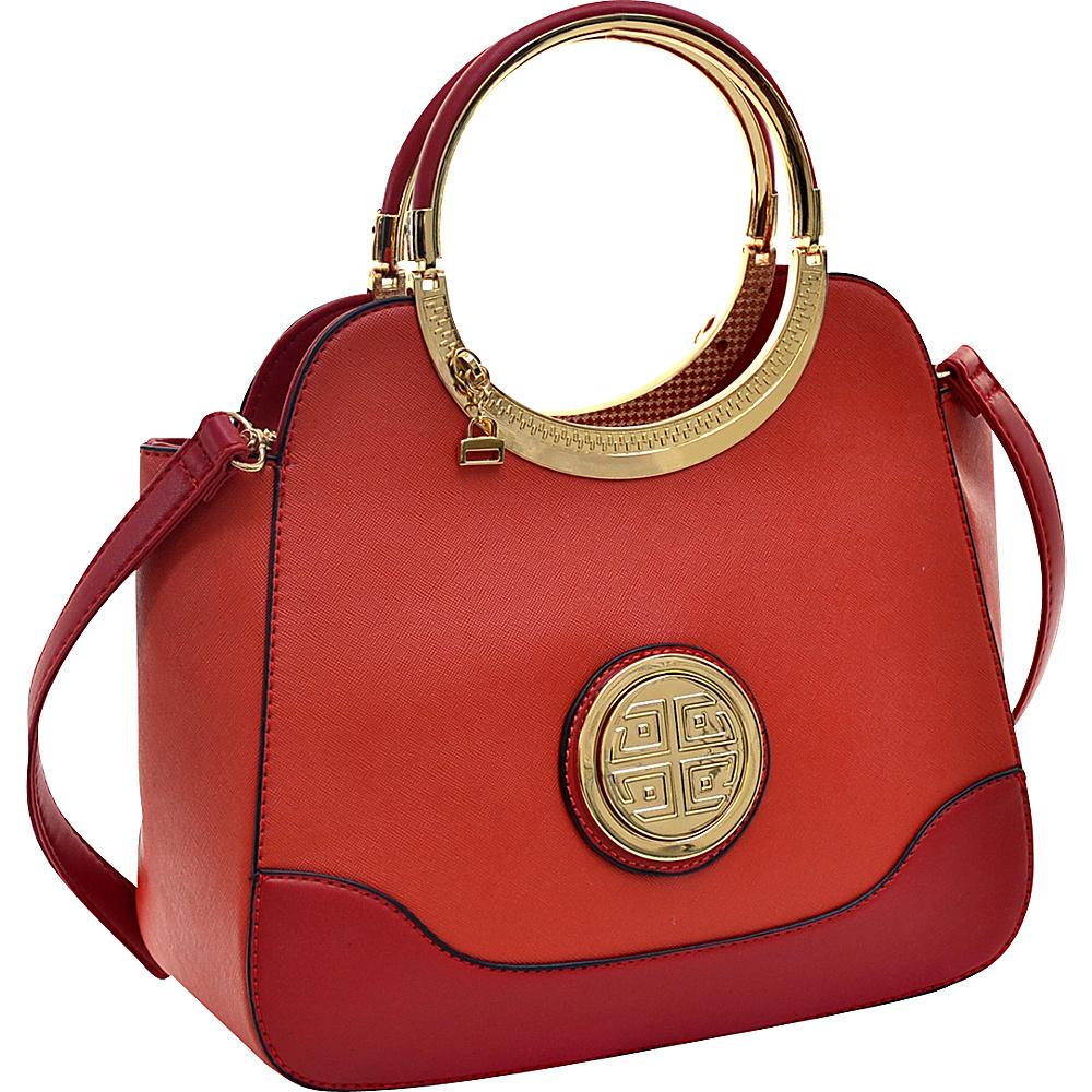 Dasein Hinged Handle Winged Satchel with Removable Shoulder Strap Orange - Dasein Manmade Handbags - Handbags, Manmade Handbags