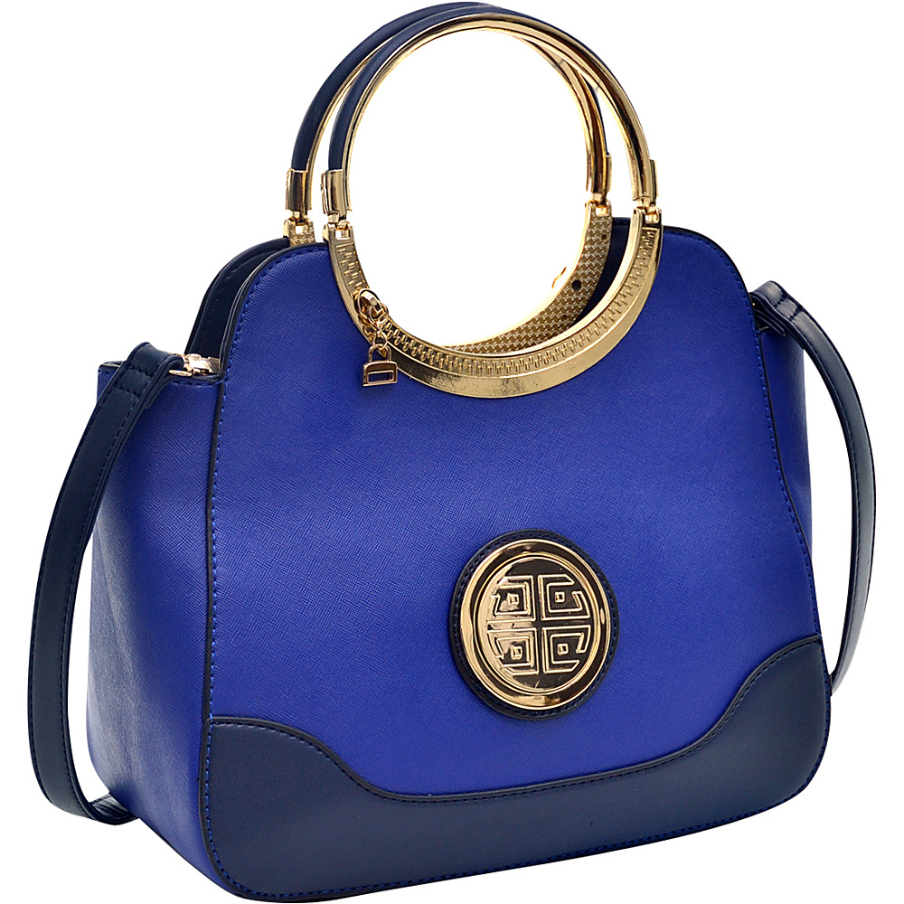 Dasein Hinged Handle Winged Satchel with Removable Shoulder Strap Royal Blue - Dasein Manmade Handbags - Handbags, Manmade Handbags