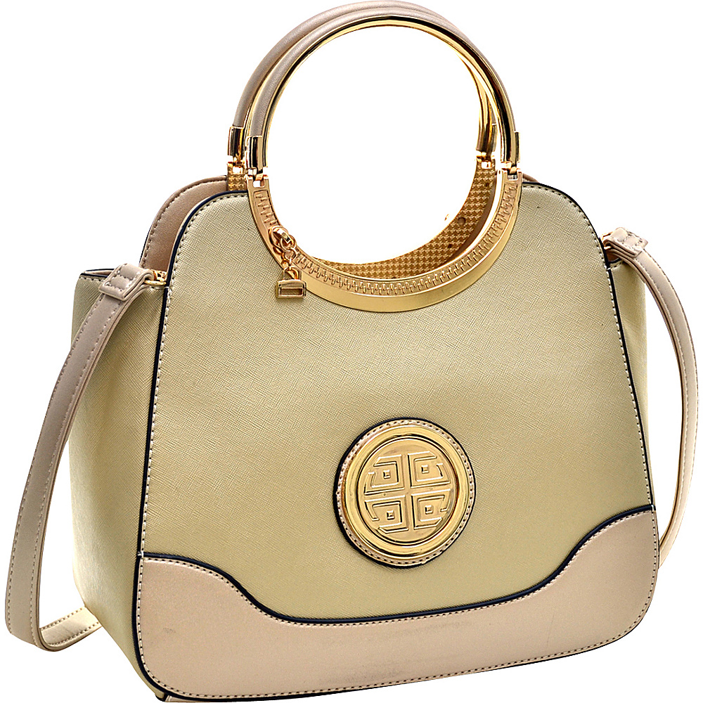 Dasein Hinged Handle Winged Satchel with Removable Shoulder Strap Gold - Dasein Manmade Handbags - Handbags, Manmade Handbags