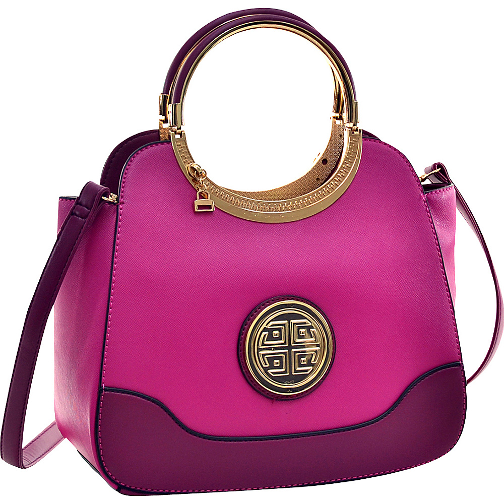 Dasein Hinged Handle Winged Satchel with Removable Shoulder Strap Purple - Dasein Manmade Handbags - Handbags, Manmade Handbags
