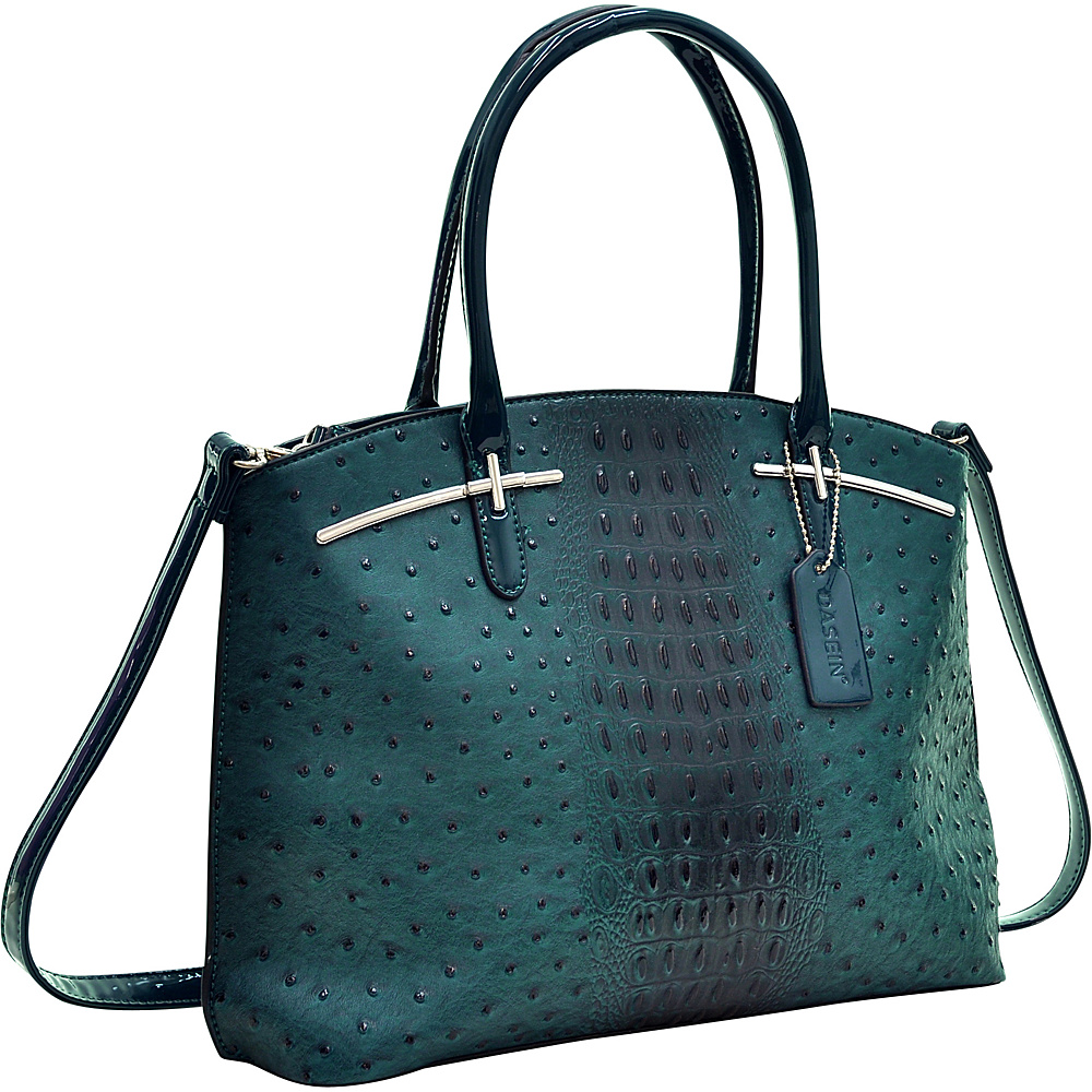 Dasein Ostrich Faux Leather with Patent Leather Trim Satchel Deep Green - Dasein Manmade Handbags - Handbags, Manmade Handbags