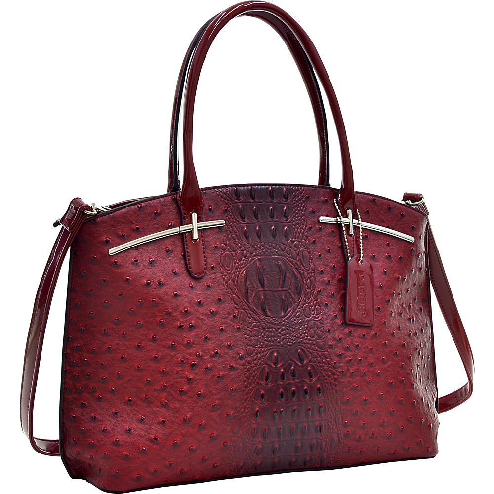 Dasein Ostrich Faux Leather with Patent Leather Trim Satchel Red - Dasein Manmade Handbags - Handbags, Manmade Handbags